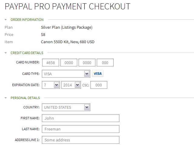PayPal Pro Gateway for Classifieds Sites